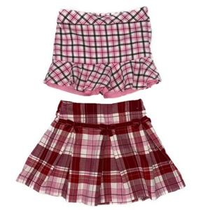 Gymboree 2 Piece Bundle: Plaid Skorts Pink Red 4